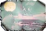 Colourless seascape on crumpled parchment